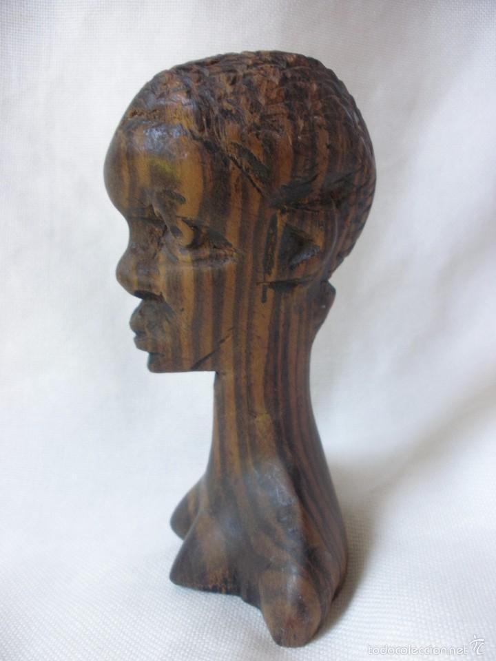 Arte: ESCULTURA MUJER BUSTO AFRICANO TALLA DE MADERA EBANO DECORACIÓN ETNICA TIKI AFRICA - Foto 2 - 58450833