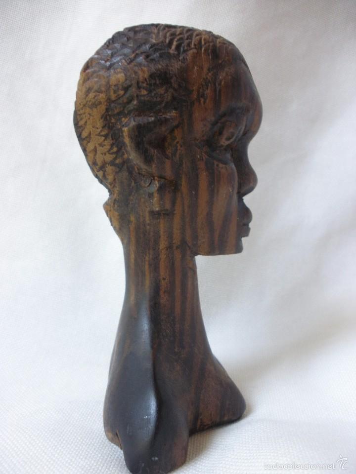 Arte: ESCULTURA MUJER BUSTO AFRICANO TALLA DE MADERA EBANO DECORACIÓN ETNICA TIKI AFRICA - Foto 4 - 58450833