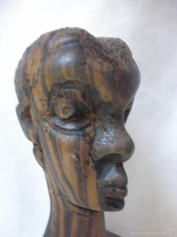 Arte: ESCULTURA MUJER BUSTO AFRICANO TALLA DE MADERA EBANO DECORACIÓN ETNICA TIKI AFRICA - Foto 5 - 58450833