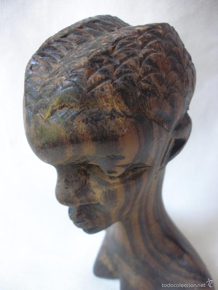 Arte: ESCULTURA MUJER BUSTO AFRICANO TALLA DE MADERA EBANO DECORACIÓN ETNICA TIKI AFRICA - Foto 6 - 58450833