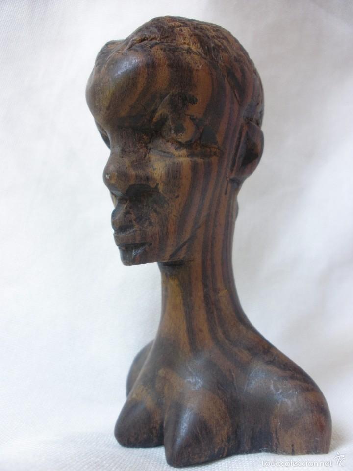 Arte: ESCULTURA MUJER BUSTO AFRICANO TALLA DE MADERA EBANO DECORACIÓN ETNICA TIKI AFRICA - Foto 10 - 58450833