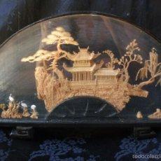 Arte: GRAN DIORAMA CHINO FORMA ABANICO 38 CM, ESCENA CHINA. Lote 58465304