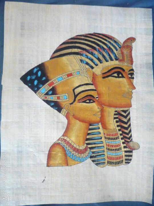 BONITO Y ANTIGUO PAPIRO DE EGIPTO LA REINA NEFERTITI CON SU ESPOSO EKHNATON MD46 (Arte - Étnico - África)