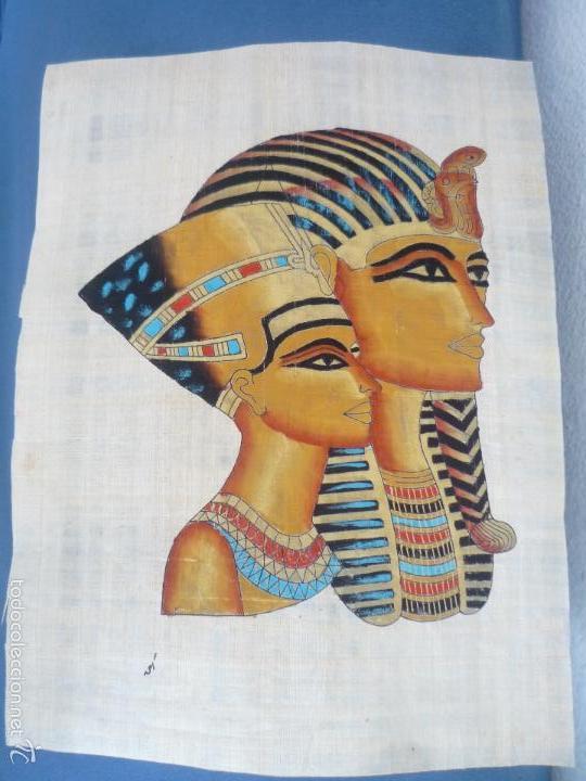 Arte: BONITO Y ANTIGUO PAPIRO DE EGIPTO LA REINA NEFERTITI CON SU ESPOSO EKHNATON MD46 - Foto 2 - 59438525