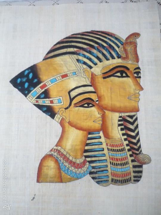 Arte: BONITO Y ANTIGUO PAPIRO DE EGIPTO LA REINA NEFERTITI CON SU ESPOSO EKHNATON MD46 - Foto 3 - 59438525