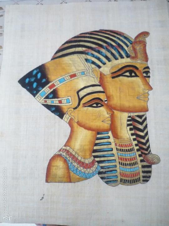 Arte: BONITO Y ANTIGUO PAPIRO DE EGIPTO LA REINA NEFERTITI CON SU ESPOSO EKHNATON MD46 - Foto 4 - 59438525