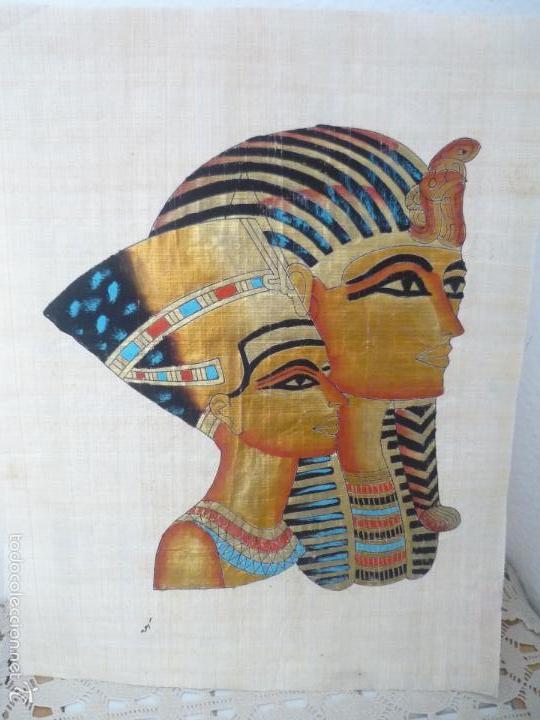 Arte: BONITO Y ANTIGUO PAPIRO DE EGIPTO LA REINA NEFERTITI CON SU ESPOSO EKHNATON MD46 - Foto 6 - 59438525