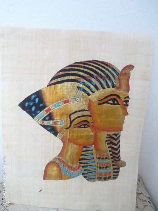 Arte: BONITO Y ANTIGUO PAPIRO DE EGIPTO LA REINA NEFERTITI CON SU ESPOSO EKHNATON MD46 - Foto 7 - 59438525