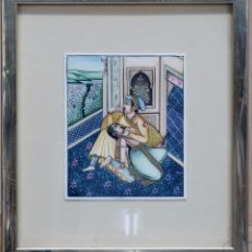 Arte: MINIATURA ERÓTICA SOBRE MARFIL HINDÚ RAJASTHAN INDIA S XX ESCENA CORTE. Lote 59508395