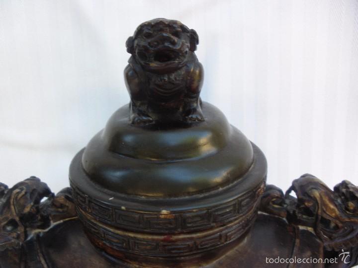 Arte: IncIensario de china en piedra tallada perro foo y dragones - Foto 3 - 61281123