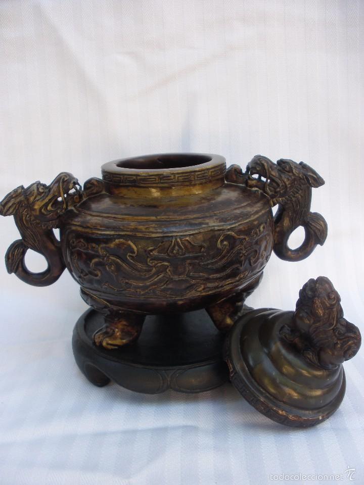 Arte: IncIensario de china en piedra tallada perro foo y dragones - Foto 4 - 61281123