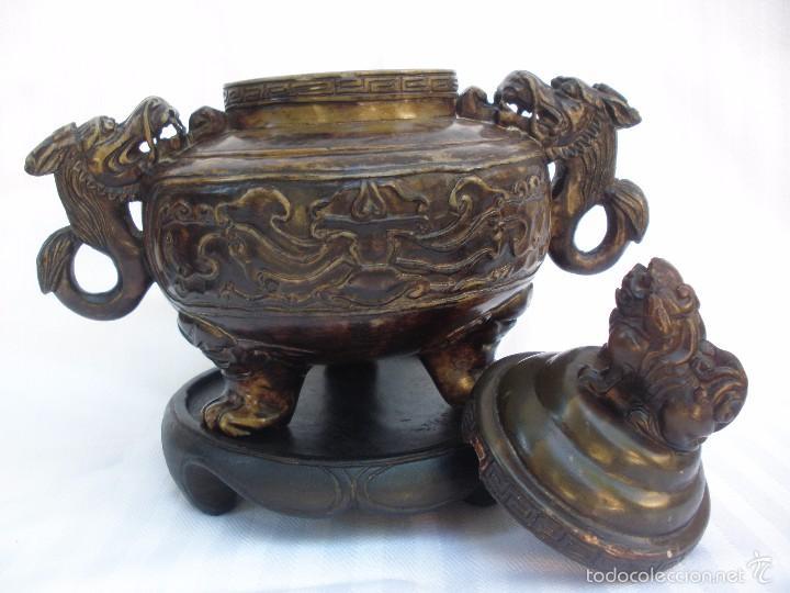 Arte: IncIensario de china en piedra tallada perro foo y dragones - Foto 5 - 61281123