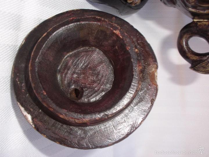 Arte: IncIensario de china en piedra tallada perro foo y dragones - Foto 6 - 61281123