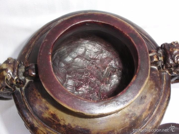 Arte: IncIensario de china en piedra tallada perro foo y dragones - Foto 7 - 61281123
