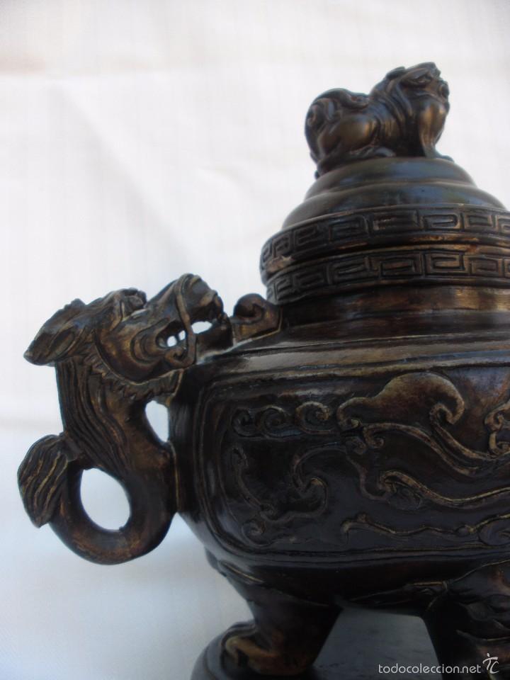 Arte: IncIensario de china en piedra tallada perro foo y dragones - Foto 10 - 61281123