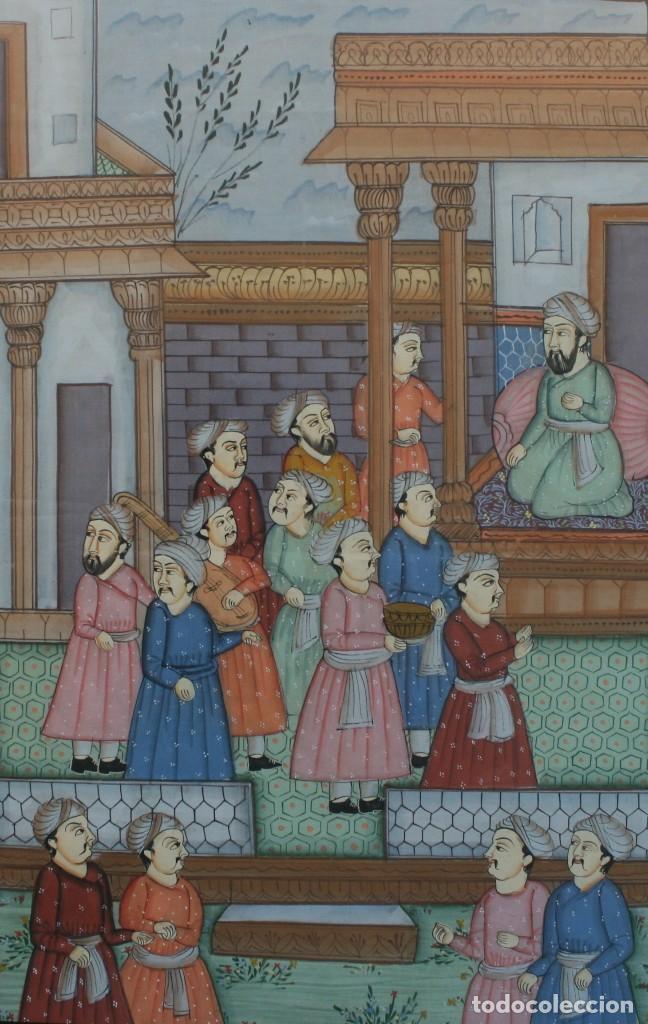 pintura persa al gouache sobre seda con marco: - Comprar Arte Étnico ...