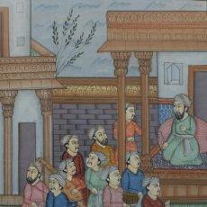 Arte: PINTURA PERSA AL GOUACHE SOBRE SEDA CON MARCO: ESCENA CORTESANA EN PALACIO – PERSIA SIGLO XIX. Lote 61434971