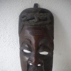 Arte: MASCARA AFRICANA DE GRAN TAMAÑO TALLADA EN MADERA.. Lote 62168524