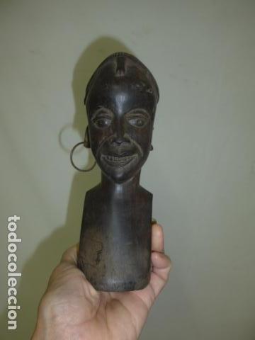 ANTIGUA ESCULTURA BUSTO DE MADERA TALLADA AFRICANA, AFRICA (Arte - Étnico - África)