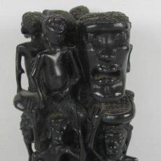 Arte: ESCULTURA EN MADERA DE EBANO AFRICANA. REPRESENTANDO INDIGENAS. PRIC. S XX.. Lote 208839536