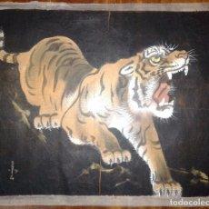 Arte: BATIK TIGRE SOBRE SEDA. FIRMADO. AÑOS 50. DIMENSIONES: 45X38 CMS. Lote 64615863