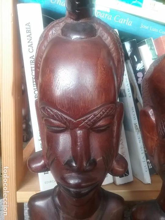 Arte: Pareja bustos escultura madera africana - Foto 2 - 65997170