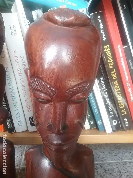 Arte: Pareja bustos escultura madera africana - Foto 3 - 65997170