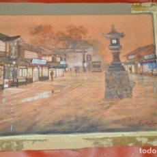 Arte: KATO EIKA , ACUARELA ORIGINALDE JAPÓN , FIRMADA. Lote 67747233