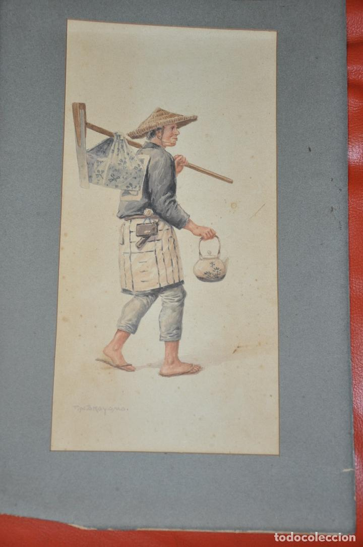TAKASHI NAKAYAMA , ACUARELA ORIGINALDE JAPÓN , FIRMADA (Arte - Étnico - Asia)