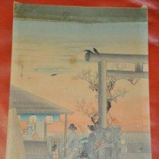 Arte: WOODBLOCK JAPONES , ANTIGUO GRABADO A LA MADERA DE JAPÓN . . Lote 67914913