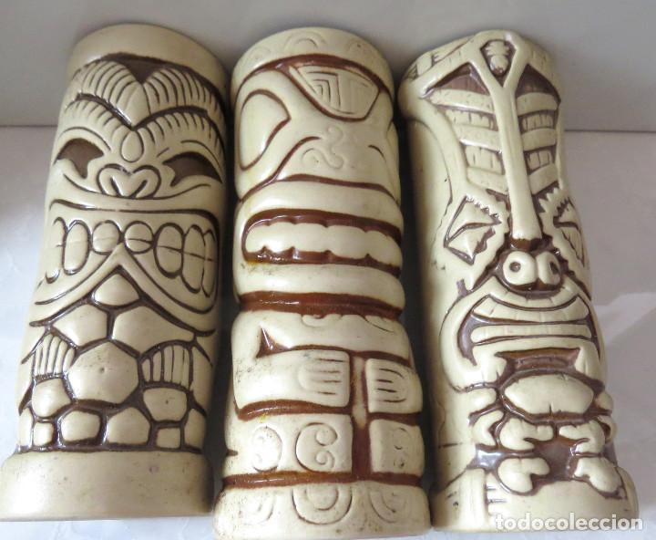 NUKU NUKU - TIKI FARM DOS JARRONES ARTE ETNICO POLINESIA, FIRMADOS, MUY BUEN ESTADO (Arte - Étnico - Oceanía)