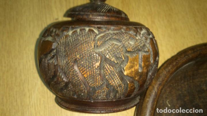 Arte: Precioso juego tallado en ébano,cuenco y joyero.motivo tallado fauna africana. - Foto 3 - 68322533