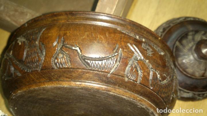 Arte: Precioso juego tallado en ébano,cuenco y joyero.motivo tallado fauna africana. - Foto 4 - 68322533