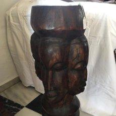 Arte: PEANA AFRICANA TALLADA EN MADERA CON 4 CARAS. WOODEN PEDESTAL CARVED WITH 4 FACES.. Lote 71643411