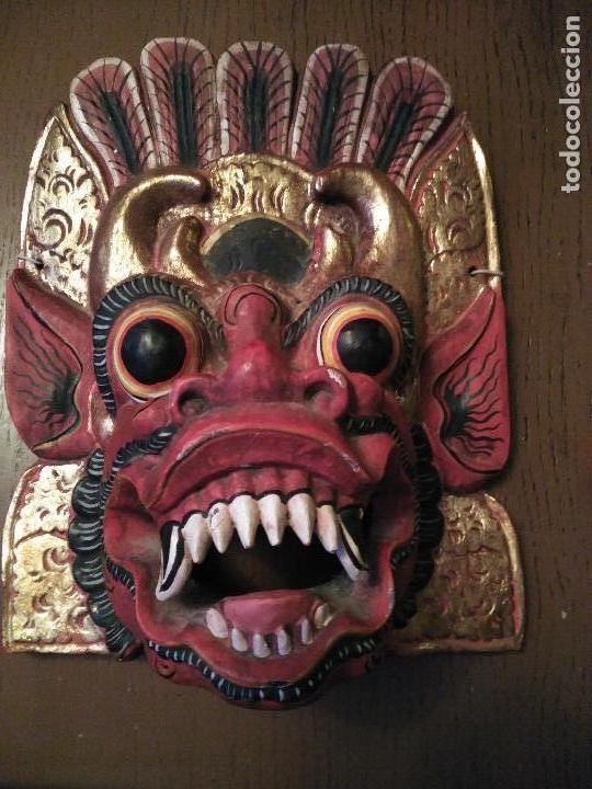 Arte: Espectacular Máscara Balinesa Indonesia Madera Tallada una Pieza Policromada. gran tamaño 251,00 € - Foto 3 - 71856935