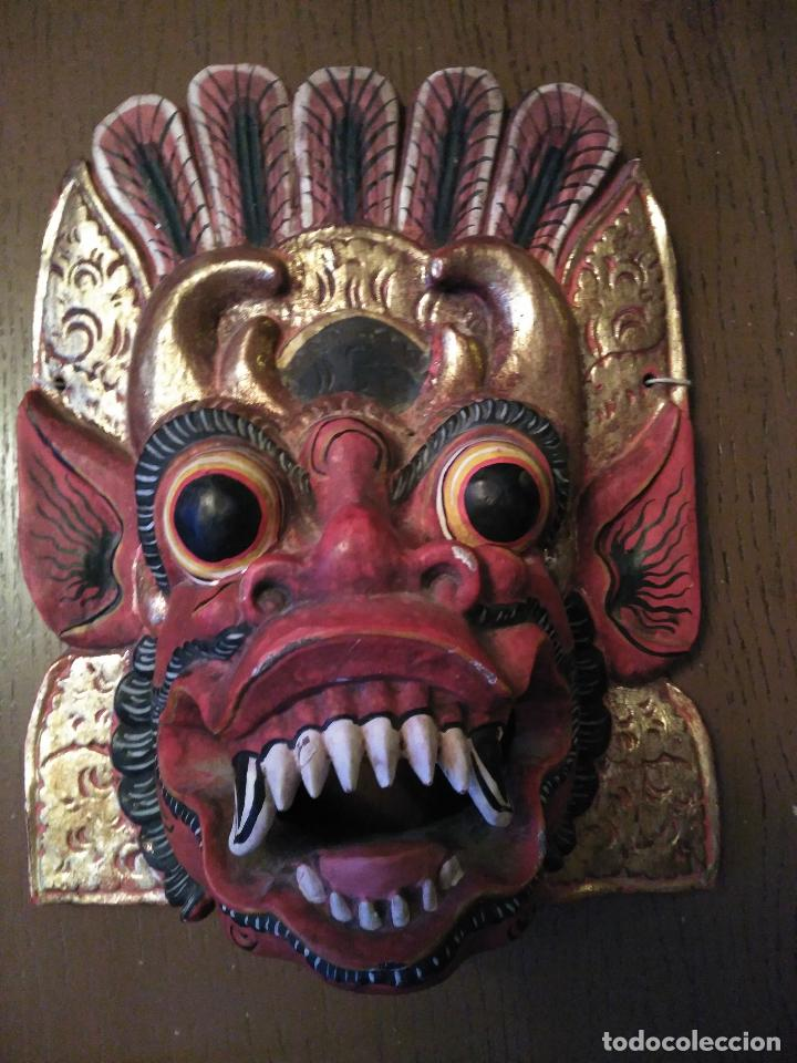 Arte: Espectacular Máscara Balinesa Indonesia Madera Tallada una Pieza Policromada. gran tamaño 251,00 € - Foto 5 - 71856935