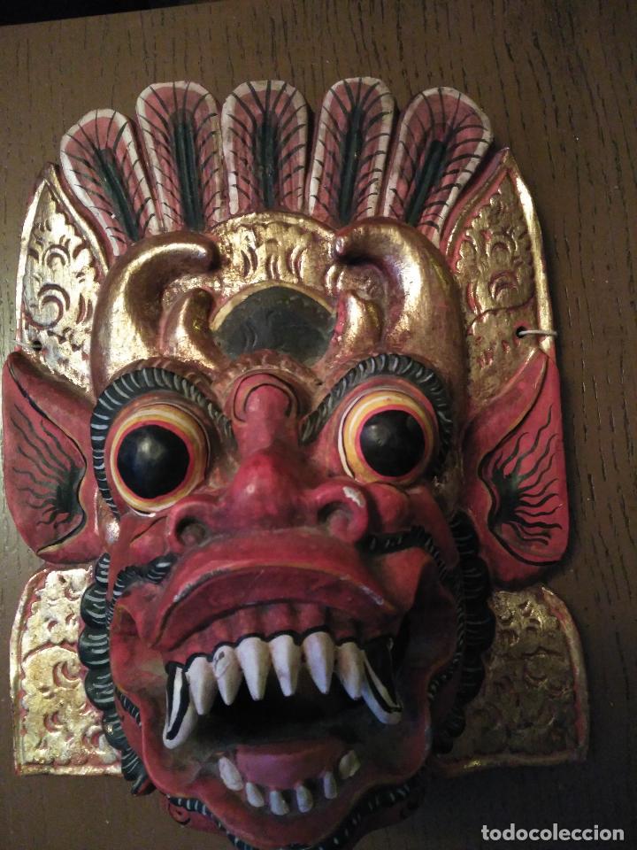 Arte: Espectacular Máscara Balinesa Indonesia Madera Tallada una Pieza Policromada. gran tamaño 251,00 € - Foto 6 - 71856935