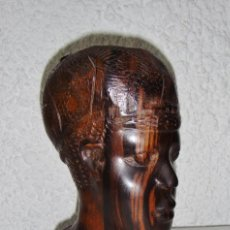 Arte: ANTIGUA FIGURA AFRICANA. TALLADO EN MADERA. ARTE ÉTNICO. BUSTO HOMBRE.. Lote 72148763