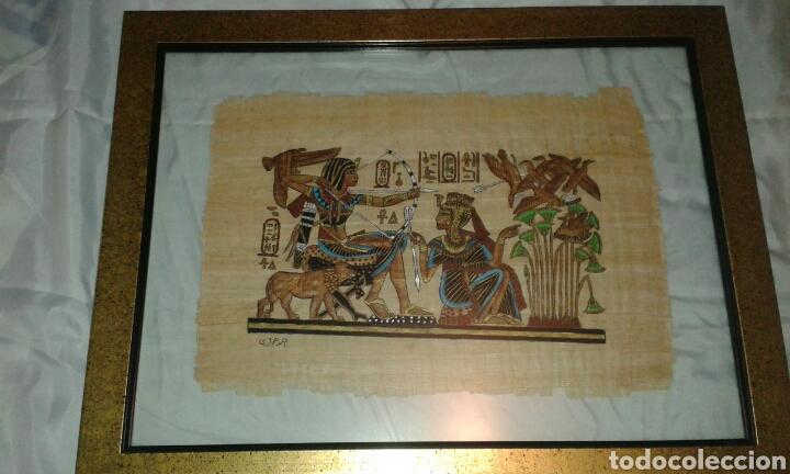 Aut ntico papiro egipcio enmarcado comprar arte tnico antiguo frica en todocoleccion 72176523 - Marcos de cuadros originales ...