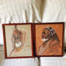 Arte: LOTE DE 2 ÓLEOS ANTIGUOS MOTIVOS AFRICANOS. Lote 73001729