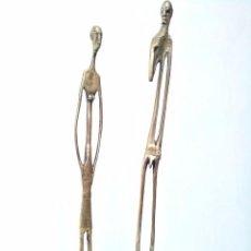 Arte: ANTIGUA PAREJA DE ESCULTURAS AFRICANAS - HOMBRE Y MUJER - NATIVA DE TRIBU MASÁI MARA - KENIA. Lote 75306591