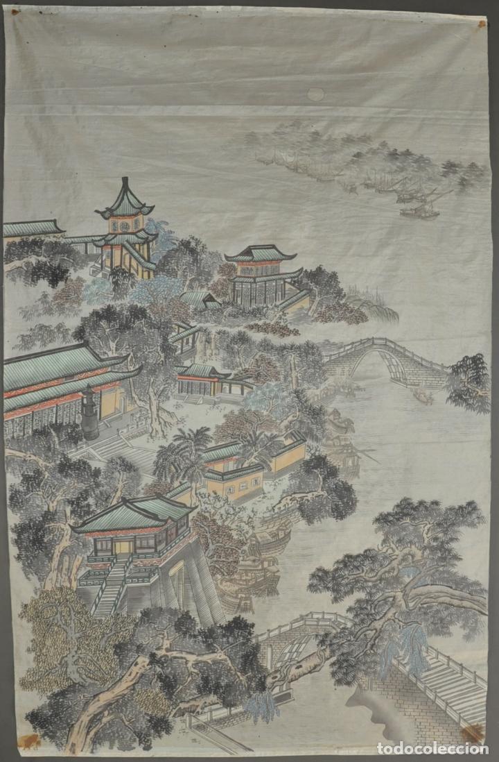 PINTURA ORIGINAL CHINA SOBRE SEDA , ACUARELA (Arte - Étnico - Asia)