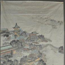 Arte: PINTURA ORIGINAL CHINA SOBRE SEDA , ACUARELA. Lote 76511899