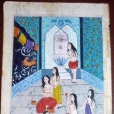 Arte: BAÑOS TURCOS, PINTURA EN PÁGINA DE LIBRO S XIX. Lote 77323145