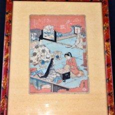 Arte: ESCENA CORTESANA. ESTAMPA JAPONESA. PINTADA A LA ACUARELA. PAPEL. JAPÓN. XIX. Lote 77988085