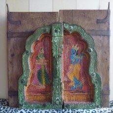Arte: ANTIGUA VENTANA INDIA PINTADA SIGLO XVIII RAJASTÁN ANTIQUE INDIAN WINDOW HAND PAINTED 18TH CENTURY. Lote 78139805