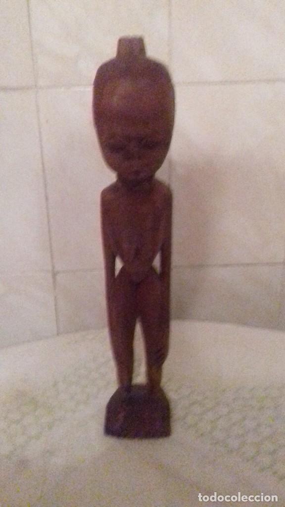 Arte: Escultura de mujer nativa africana,tallada en madera. - Foto 2 - 78277821
