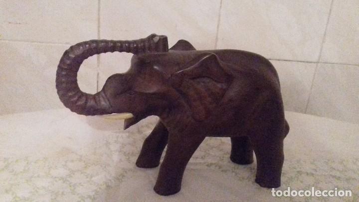 Arte: Precioso elefante de la suerte tallado en madera,le falta un colmillo. - Foto 2 - 78278033