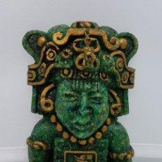 Arte: FIGURA AZTECA EN SÍMIL DE PIEDRA VERDE BELLAMENTE TALLADA A MANO. Lote 78369813