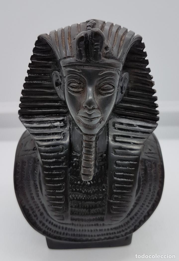 Arte: Busto faraónico antiguo egipcio en símil de piedra caliza bellamente tallado a mano - Foto 7 - 78370349